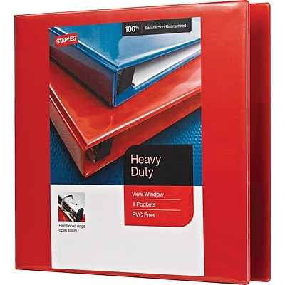 Heavy-Duty 2-Inch D 3-Ring View Binder, Red (26348)