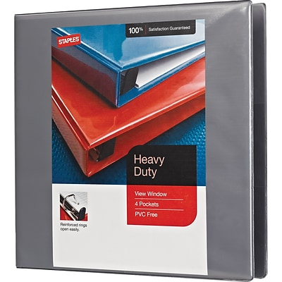 Heavy-Duty View Binder with D Rings, Gray, 350 Sheet Capacity, 1-1/2 Ring