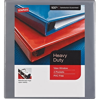 1/2 Staples® Heavy-Duty View Binder with D-Rings, Gray