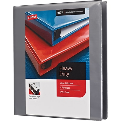 1 Heavy-Duty View Binder with D-Rings, Gray