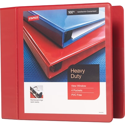 Heavy-Duty 4-Inch D 3-Ring View Binder, Red (24698-US)