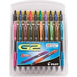 Pilot G2 Premium Retractable Gel-Ink Rolling Ball Pens, Fine Point (0.7mm), Assorted, 20/Pk (31294)