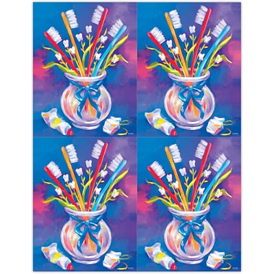 Dental Laser Postcards, Toothbrushes in a Cup