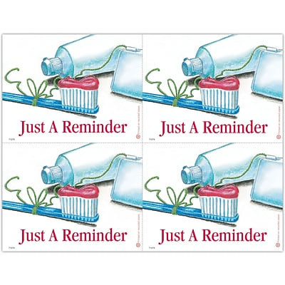 Recycled Laser Postcards, Just A Reminder, Floss Tied Around Toothbrush