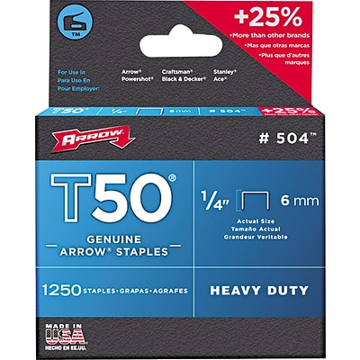 Arrow® T50® Type Staples, 1/4.