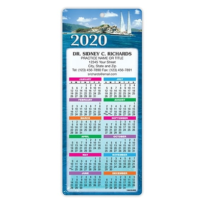 Magnet Strip Back Easy Hang Promotional Calendars; Sailboats