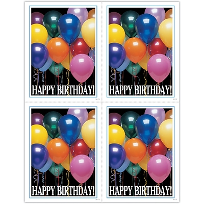 Generic Laser Postcards; Happy Birthday Balloons