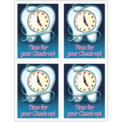 Graphic Image Laser Postcards; Tooth/Clock/Floss