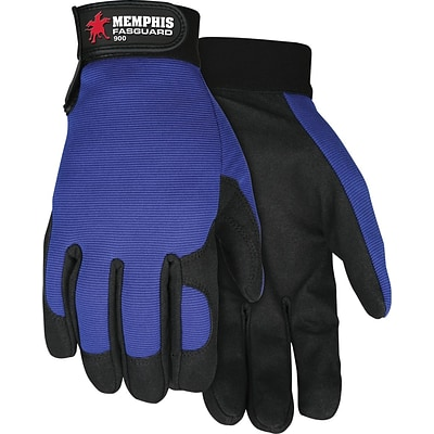 Memphis Gloves® Fasguard™ Clarino® Synthetic Leather Palm Multi-Task Gloves, Blue/Black, Large
