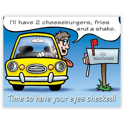 Humorous Laser Postcards, Time To Have Your Eyes Checked!