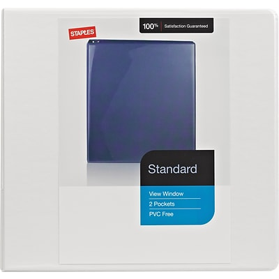 Staples Standard 4-Inch D 3-Ring View Binder, White (26358)