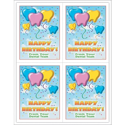 Dental Laser Postcards, Tooth Birthday Balloons