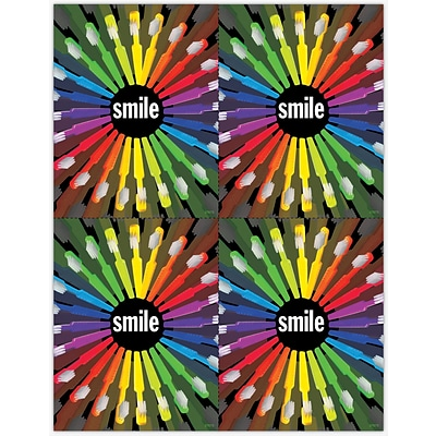 Graphic Image Laser Postcards, 4 Color Toothbrush