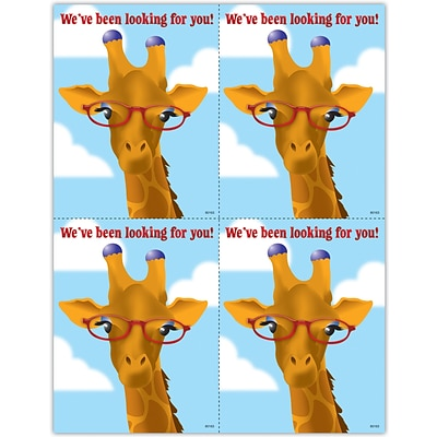 Humorous Recycled Laser Postcards; Giraffe Glasses