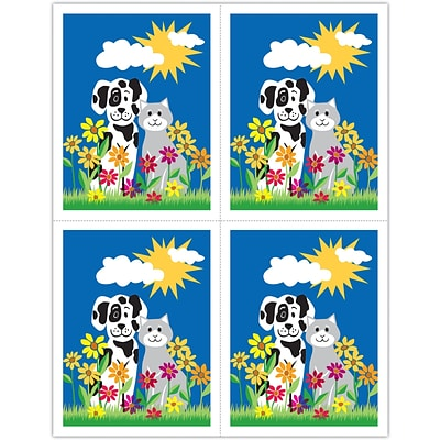 Graphic Image Laser Postcards, Dog and Cat in Daisies