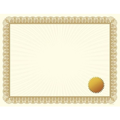 Great Papers® Metallic Gold Border Certificate with Seals, 25/Pack