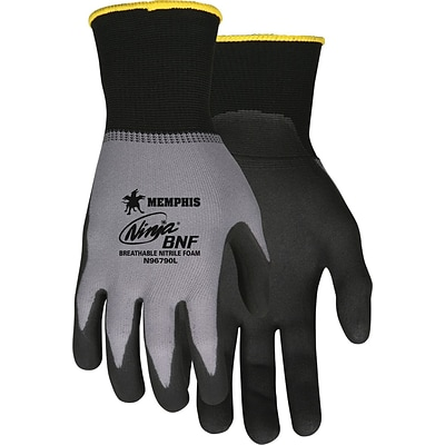 Memphis Gloves® Ninja® Breathable Nitrile Foam Gloves, Black/Gray, Extra-Large, 12/Pairs