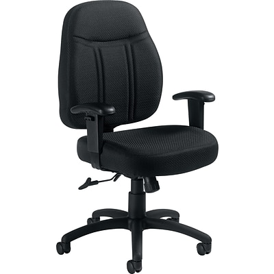 Offices To Go® Mid-Back Tilter Chair with Arms, Fabric, Black, Seat: 19.5x17 - 18.5, Back: 20x22