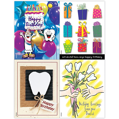 Graphic Image Assorted Laser Postcards; Happy Birthday from Dentist