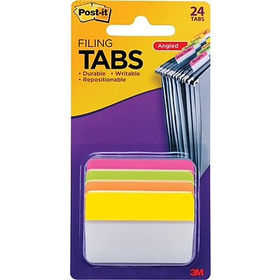 Hanging File Tabs, 2 x 1 1/2, Solid, Angled, Assorted Bright, 24/PK (686A-PLOY)