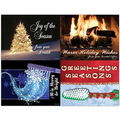 Dental Assorted Laser Postcards, Merry & Bright