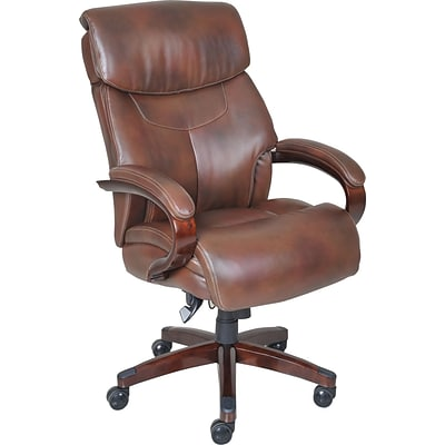 La Z Boy Bradley Bonded Leather Executive Chair, Fixed Arms, Roast Chestnut