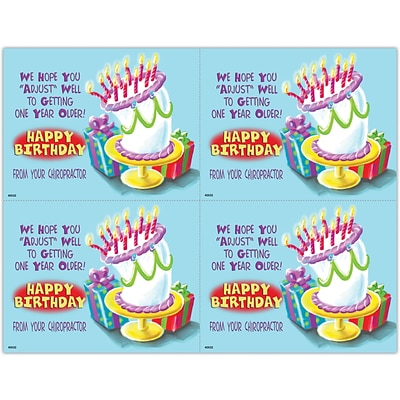 Humorous Laser Postcards; Cartoon Cake with Presents