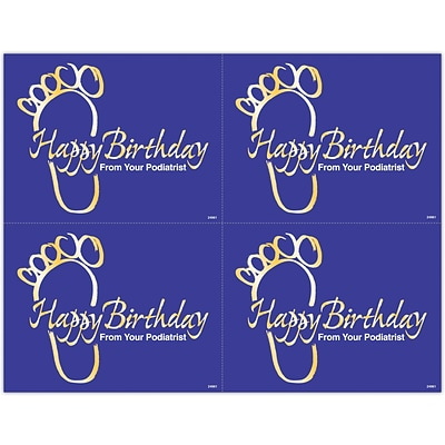 Podiatry Laser Postcards; Happy Birthday Gold Foot