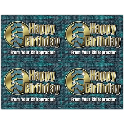 Chiropractic Laser Postcards, Happy Birthday From Your Chiropractor, Green/Gold