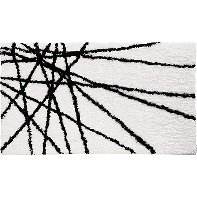 InterDesign® 34 x 21 Abstract Microfiber Polyester Bath Rug, Black/White