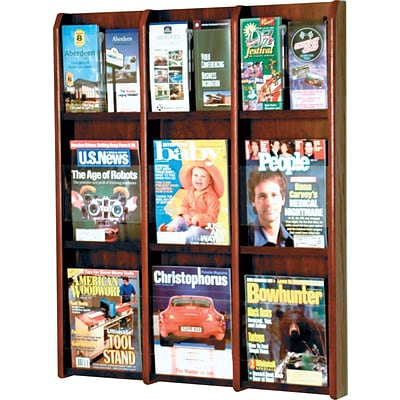 Wooden Mallet Oak & Acrylic Literature Display Racks; 9-Magazine/18 Brochure, Mahogany