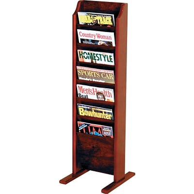 Wooden Mallet Solid Wood Literature Display Units; 37x12x12, Mahogany 7-Pocket Free-Standing