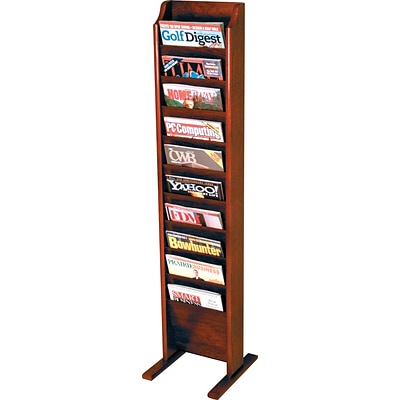 Wooden Mallet Solid Wood Literature Display Units; 49x12x12, Mahogany, 10-Pkt, Free-Standing