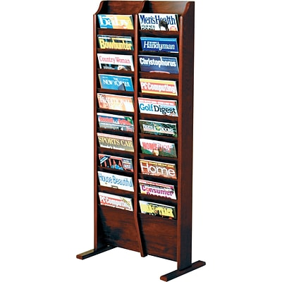 Wooden Mallet Solid Wood Literature Display Units; 49x22x12, Mahogany, 20-Pkt, Free-Standing