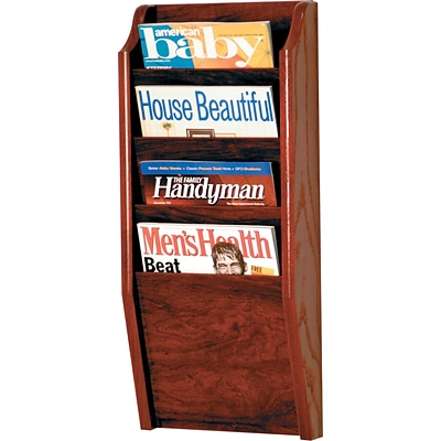 Wooden Mallet Solid Wood Literature Display Unit; 24x10-1/2x3-3/4, Mhgy, 4-Pkt Wall Magazine Rack
