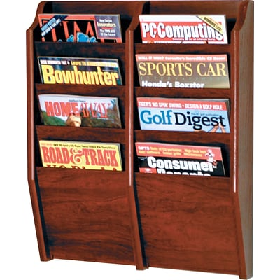 Wooden Mallet Solid Wood Literature Display Unit; 24x20-1/2x3-3/4, Mahogy, 8-Pkt Wall Magazine Rack