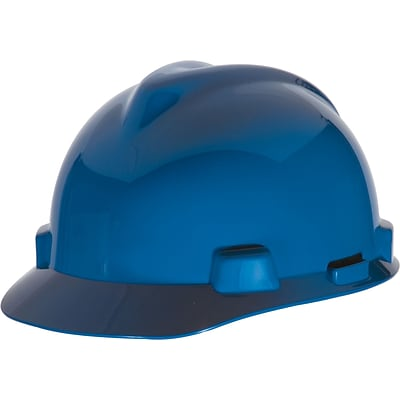 MSA Safety® V-Gard® Slotted Hard Hats, Polyethylene, Cap, Standard, Blue
