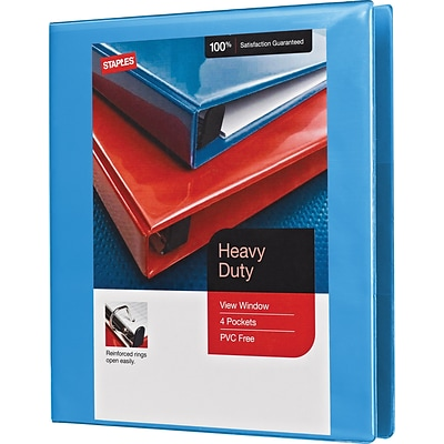 1 Heavy-Duty View Binder with D-Rings, Light Blue