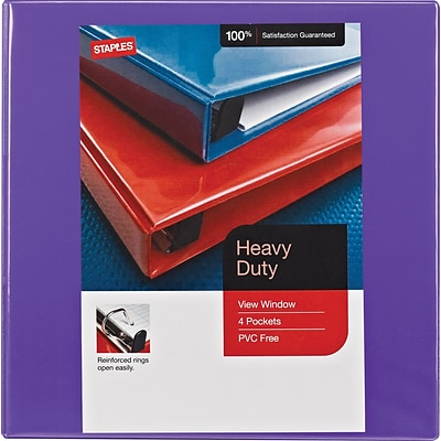 Staples Heavy-Duty 1.5 3-Ring View Binder with D-Rings and Four Interior Pockets, Purple (24683-US)