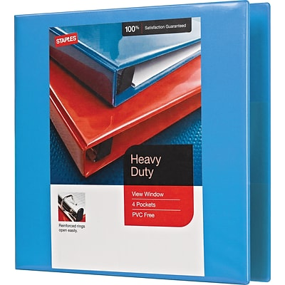 1-1/2 Heavy-Duty View Binder with D-Rings, Light Blue