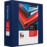 Staples Heavy Duty 3 3-Ring View Binder with D-Rings and Four Interior Pockets, Blue (24691)