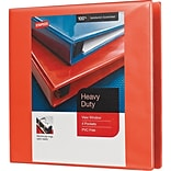 3 Staples® Heavy-Duty View Binder with D-Rings, Orange