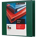 3 Staples® Heavy-Duty View Binders with D-Rings, Green