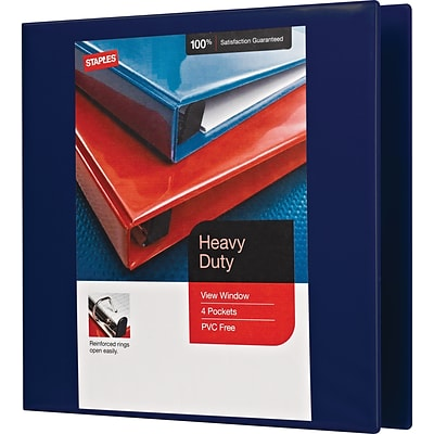 3 Staples® Heavy-Duty View Binder with D-Rings, Navy