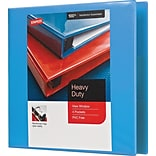 3 Staples® Heavy-Duty View Binder with D-Rings, Light Blue