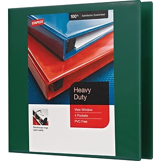 2 Staples® Heavy-Duty View Binders with D-Rings, Green