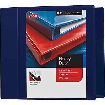 5 Heavy-Duty View Binder with D-Rings, Navy