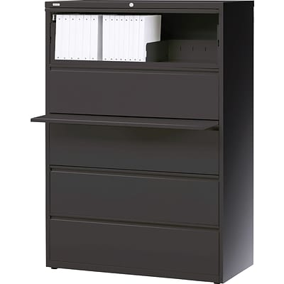 Quill Brand® 36 Wide 5-Drawer Lateral File; Charcoal