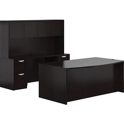 Offices To Go® Superior Laminate Managers Desk, American Espresso, 29 1/2 - 65 1/2H x 71W x 113D