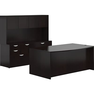 Offices To Go® Superior Laminate Managers Desk, American Espresso, 29 1/2 - 65 1/2H x 71W x 111D